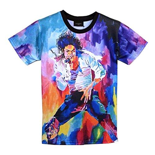 Catamaran Michael Jackson TShirt Rock Star MJ Men 3d T Shirts (L) (Michael Jackson Outfits)