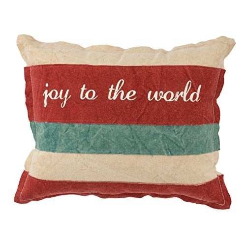 Primitives by Kathy Canvas Joy to the World Holiday Throw Pillow 15 x 12-Inch