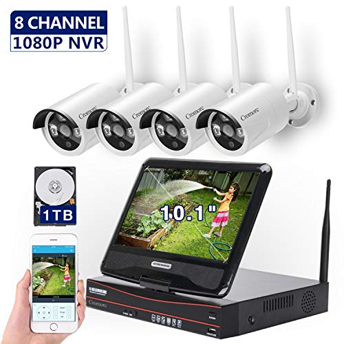 [8CH,Expandable] All in one with 10.1 inches Monitor Wireless Security Camera System, Home Business CCTV Surveillance 8CH 1080P NVR Kit, 4pcs 2MP 1080P Outdoor Night Vision IP Camera, 1TB Hard Drive (Kit Camera Wireless)