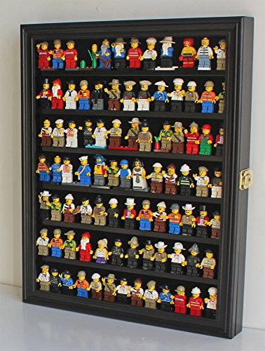 Minifigures Display Case Wall Thimble Cabinet Shadow Box, solid wood (Black Finish) Wall Mount Display Cabinet