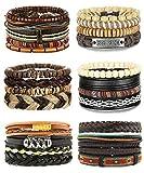 Adramata 25Pcs Woven Leather Bracelet for Men Women Wrap Cuff Bracelets Adjustable
