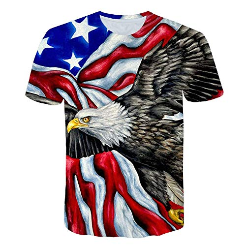 Clothful ? Independence Day Clothing, Men's USA Flag Casual Printed Independence Day Loose Round Neck T-Shirt Tops Black