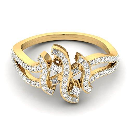 14K Or jaune 0,55CT TW Round-cut-diamond (IJ   SI) en diamant