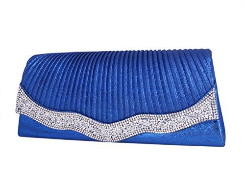 Day Of Saturn Clutch Con Solapa Diamante Lujoso Para Fiesta Mujer,Plateado Azul