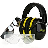 Tradesmart Shooting Ear Protection and Anti Fog, Scratch Resistant Safety Glasses Combo Pack / Kit | Active Noise Filtering Earmuffs For Firearms, Construction, Industrial, Aviation, Hunting & More offers