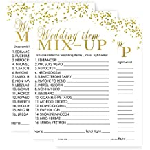 Bridal Shower Word Scramble Trivia Game - Abstract Black and Gold (25 Sheets)
