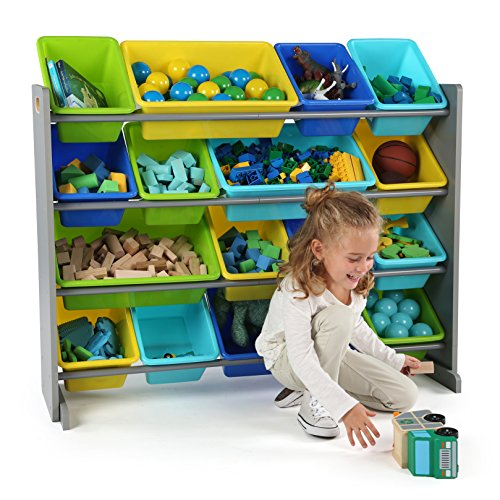 51PRLZCz9tL - Tot Tutors WO498 Elements Collection Wood Toy Storage Organizer, X-Large, Grey/Blue/Green/Yellow