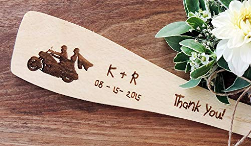 Engraved Wooden Roux Spatula, Motorcycle Wooden Spoon, Wooden Spoon Wedding Favor, Motorcycle Wedding Favor, Personalized Party Favor - SET OF 20