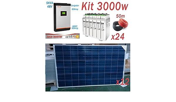 Kit Solar 48v 3000w Hora Inversor 5000va MPPT 60A Bateria 6 TopzS ...
