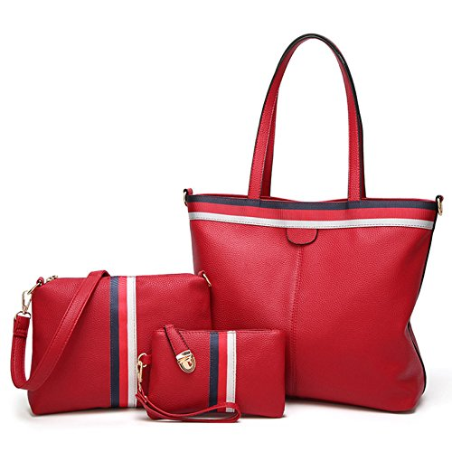 Color Women Winered Bags Bags Handbags Casual Solid piece Bags Fashion Three Bags Capacity Casual Women's Casual Bags Women's Travel Large Handbags Bags Shoulder Bags PU Bags Ribbon Women's Bags 6wdfHTOq