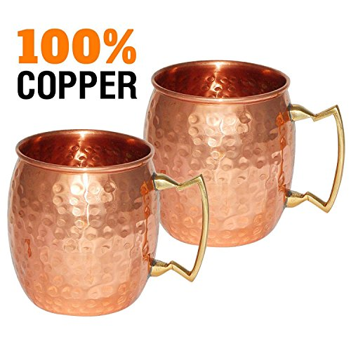 Moscow-Mule Hammered-Copper 18-Ounce Drinking-Mug Set-of-2