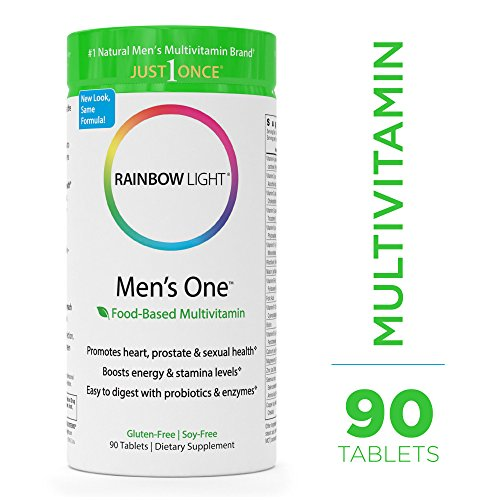 Rainbow Light - Men's One Multivitamin - Probiotic, Enzyme, and Vitamin Blend; Supports Energy, Stress Management, Heart, Prostate, Muscle, and Sexual Health in Men; Gluten Free - 90 Tablets (Enzyme Blend)