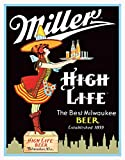 "Desperate Enterprises Miller High Life Server Tin Sign, 12.5"" W x 16"" H"