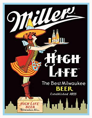 "Desperate Enterprises Miller High Life Beer Tin Sign, 12.5"" W x 16"" H"