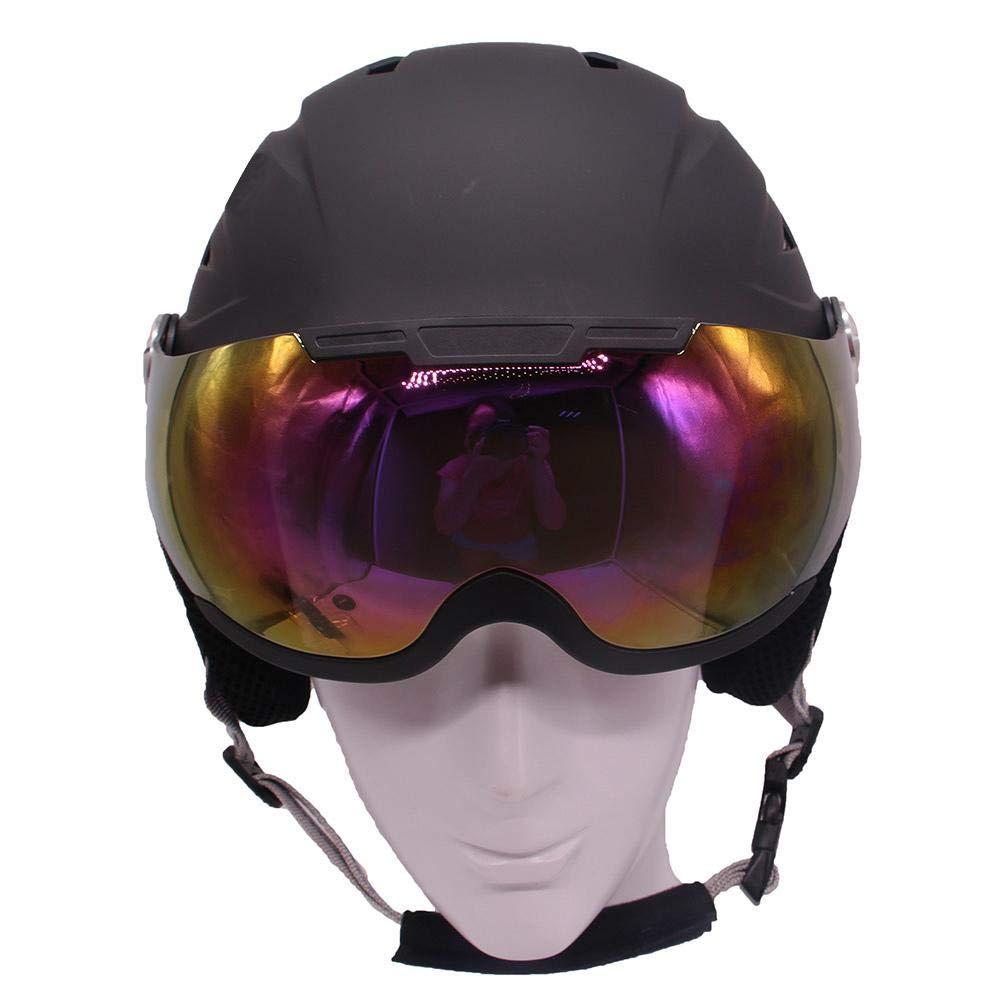 Haodene Casco con Gafas para Esquí Snowboard - para Niños Unisex Adulto - Negro