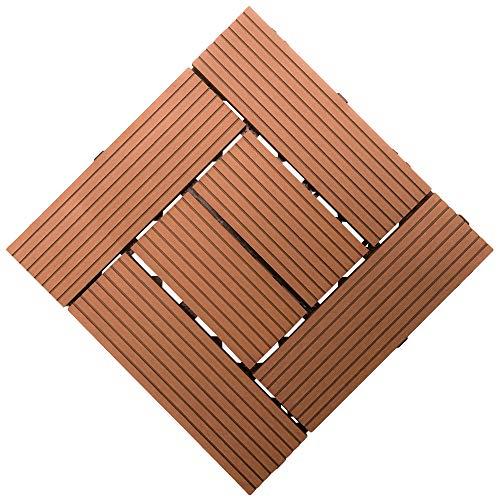 Samincom Patio and Deck Tiles - Interlocking Criss-Cross Pattern Indoor Outdoor Flooring Weather and Slip Resistant Square, Water Resistant Flooring Tiles, 12
