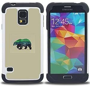"""SAMSUNG Galaxy S5 V / i9600 / SM-G900 - 3 en 1 impreso colorido de Altas Prestaciones PC Funda chaqueta Negro cubierta gel silicona suave (Lobo Arte"""")"""