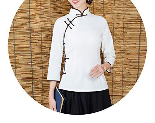 ベルアナリスト永久チャイナドレス 春と秋の新しいレトロな民族のスタイルのソリッドカラーの女性のコットンとリネンショートジャケットショート唐のスーツ女性の服,白色,XL