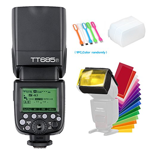 Godox TT685F TTL 2.4G GN60 High-Speed Sync 1/8000S 0.1-2.6 Seconds Recycle Time,230 Full Power Flashes Flash Speedlite Light Compatible for Fujifilm Camera +Diffuser & Filter +USB LED