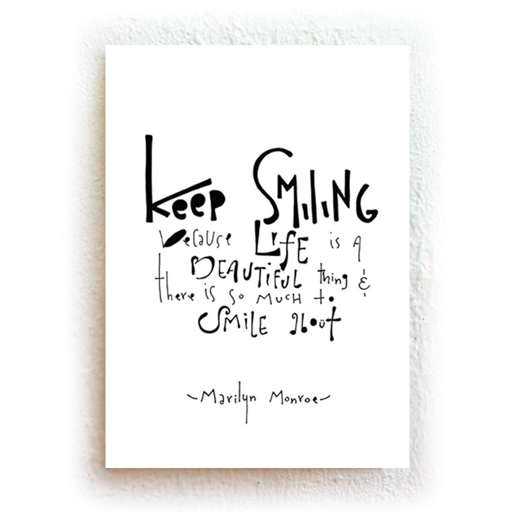Amazon com keep smiling marilyn monroe quote black and white inspirational typography print on fine art paper handmade