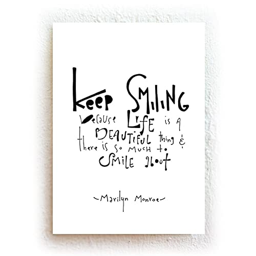 Amazoncom Keep Smiling Marilyn Monroe Quote Black And White