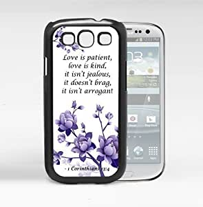 1 Corinthians 13:4 Bible Verse with Purple Flowers (Samsung Galaxy S3 I9300) Hard Snap on Phone Case Cover