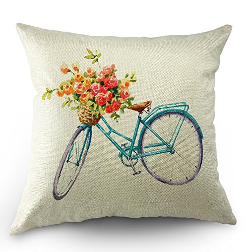 Moslion Blue Bicycle Pillows Decorative Throw Pillow Cover Vintage Watercolor Summer Flowers Bike Pillow Case 18 x 18 Inch Square Cotton Linen Cushion Cover for Sofa Bed Living Room from Moslion
