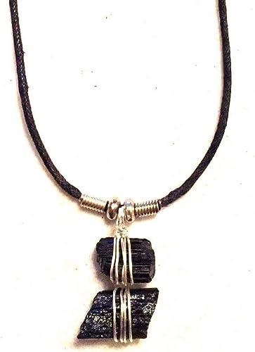 Beadscape ~ A Bit of D/éj/à Vu Rough Cut Genuine Black Tourmaline Stone Necklace Silver Wire Wrapped Pendant
