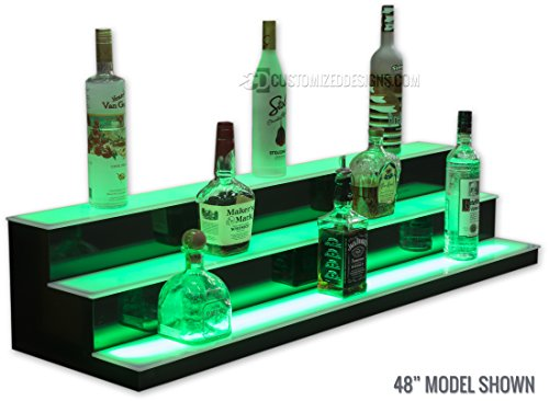 3 Tier LED Lighted Bar Shelves - Low Profile Style (24'' Length) by Customized Designs (Image #2)
