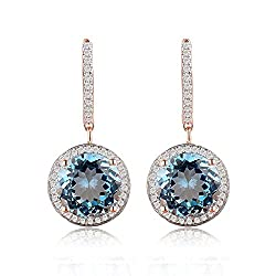 Rose Gold Diamond Blue Topaz Earrings
