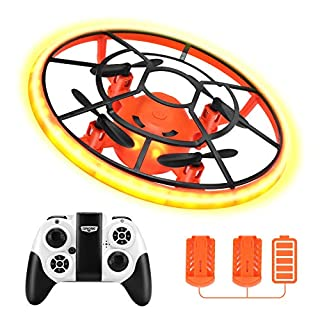 Mini Drones for Kids,RC Drone for Beginners with Neno Light,RC Helicopter Quadcopter with Altitude Hold,360° Rotating,Shinning Led Lights,2 Batteries,Kids Gifts Toys for Boys Girls (Orange)