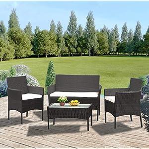 Anaelle Panana Ensemble Table en Verre + 3 Chaises en Rotin PVC Moderne -Imperméable à l'eau -Résistant aux Rayons UV…