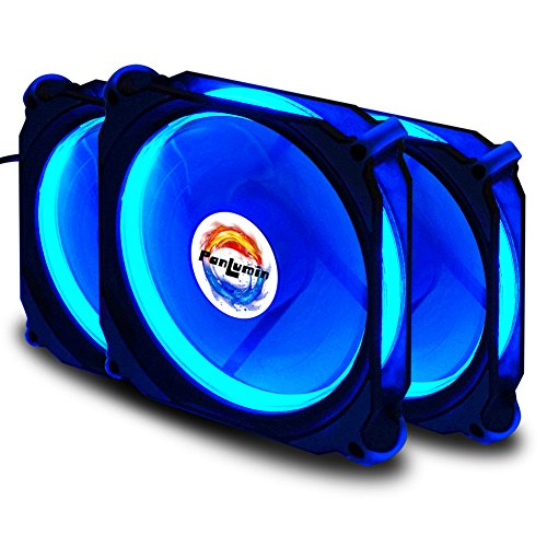 PC case Fan, PanLumin led lighting 120mm superior cooling performance fan for computer case, quiet edition compatible with 3pin/4pin 3 (Light Up Fan)