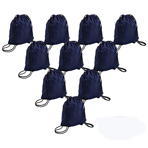 Bonaweite Drawstring Bag Canvas Nylon Sport Storage Portable Training (Dark navy 10 pack) -