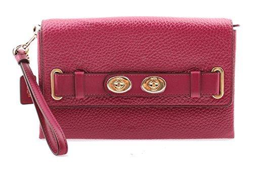 Coach Bubble Leather Blake Clutch Wristlet Wallet, F53424 (Fuchsia)