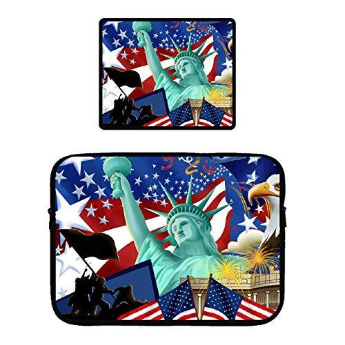 Pop MKYTH - Funda para portátil de 13 a 15 pulgadas, diseño de la bandera americana de la Estatua de la Libertad, funda...