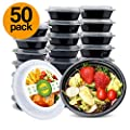 Glotoch 50pack Meal Prep Containers 16ounce Single Compartment Round Food Storage Containers Salad Blow Bento Box Microwave Freezer Dishwasher Safe Eco Friendly Safe Food Container