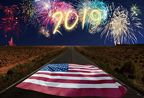 (Leowefowa 6x4ft Firework Sparkles 2019 American Flag Road 66 Outdoor Highway Night Background National Day Patriotic Theme Birthday Party Labor Day Veterans Day Photo Backdrops July 4th Decorations)