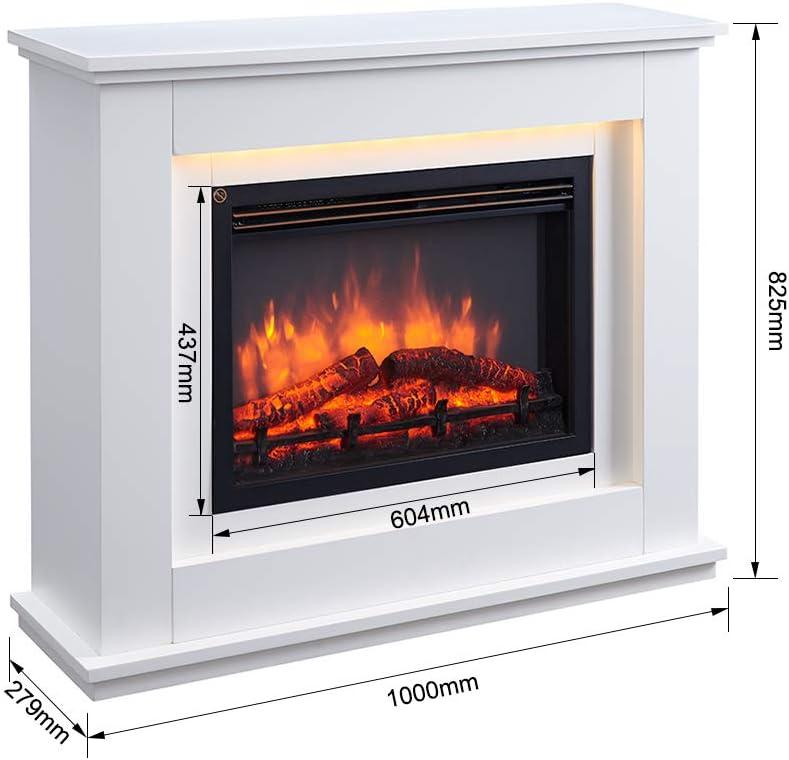 Bianco RICHEN Baldur caminetto elettrico illuminazione a LED Caminetto autoportante Con riscaldamento effetto fiamma 3D e telecomando