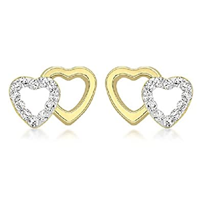 d349037c2 Amazon.com: [Earrings for Women] Carissima Gold 9ct Yellow Gold Double Heart  Plain and Cubic Zirconia Stud Earrings [parallel import goods] : Jewelry