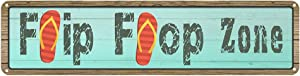 Jacevoo Flip Flop Zone Tin Sign Vintage Rustic Decor Home Pool Tropical Beach Patio Wall Decoration Pool Metal Street Sign 4x16 Inch