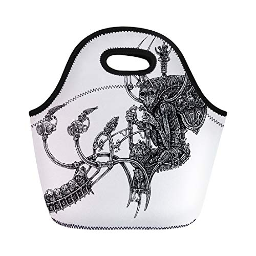 6b5bd3f3d515 Semtomn Neoprene Lunch Tote Bag Animal Steampunk Pilot Fantastic Antique  Bird Colors Dotwork Drawing Reusable Cooler Bags Insulated Thermal Picnic  ...
