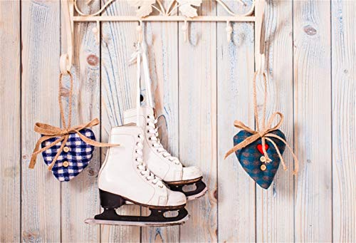 Vinyl Ice Skates - Laeacco Christmas Backdrop Vinyl 8x6.5ft Hanging Ice Skates Blue Checked Handmade Heart Artifacts Hook Rustic Wooden Wall Background Christmas Party Banner Child Baby Adult Portrait Shoot