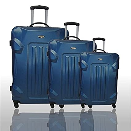 Travel Land – Set de 3 maletas ligeras y gruesos Trolley – Carcasa rígida ABS 4