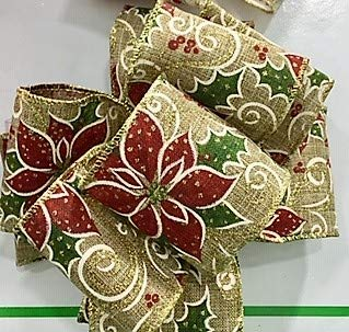 (Wire Edged Burlap Poinsettia Print with Gold Trim - 100% Polyester 10 Yards, 21/4