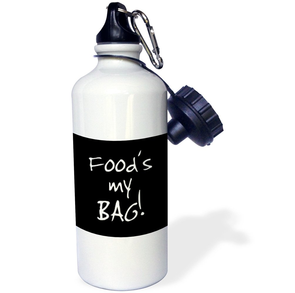 3dRose wb/_232203/_1 Bag Fun Quilter Gift Black and White Text Quilt Making Water Bottle