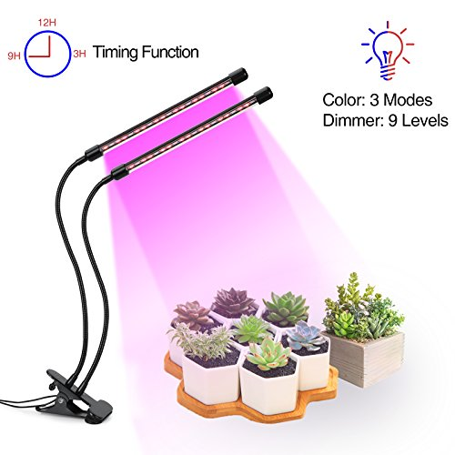 Benuo 18W Dual Head Timing Grow Light [2018 Upgraded Version] 20 LEDs Full Spectrum 3 Modes Timing 3/9/12H, 9 Dimmable Levels, Adjustable 360 Degree Gooseneck for Indoor Plants