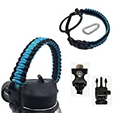Paracord Handle with Carabiner,Sports Bottle Strap for Hydro Flask Wide Mouth,Inculde Survival Buckle with Knife,Compass,Fire Starter,Whistle (Blue/black-3pcs set)