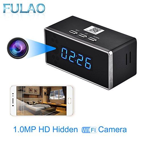 FULAO HD 1080P Wifi Alarm Clock Camera Night Vision/Motion Detection/ Home spy Cameras by FULAO