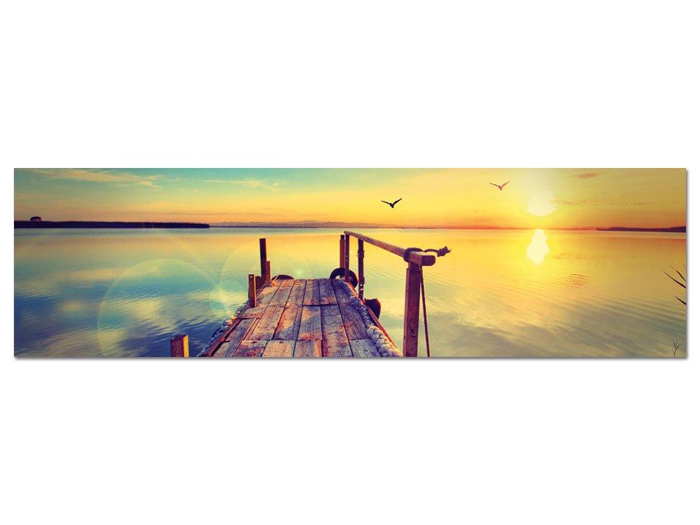 GRAZDesign 100481_004_01_04 Glasbild aus Acryl | Wandbild mit Steg in der Natur, der in Das Meer Führt Bei Dämmerung | Hochwertiges Panoramabild als Wand-Deko für Wohnzimmer | Kunstdruck (180x50cm)